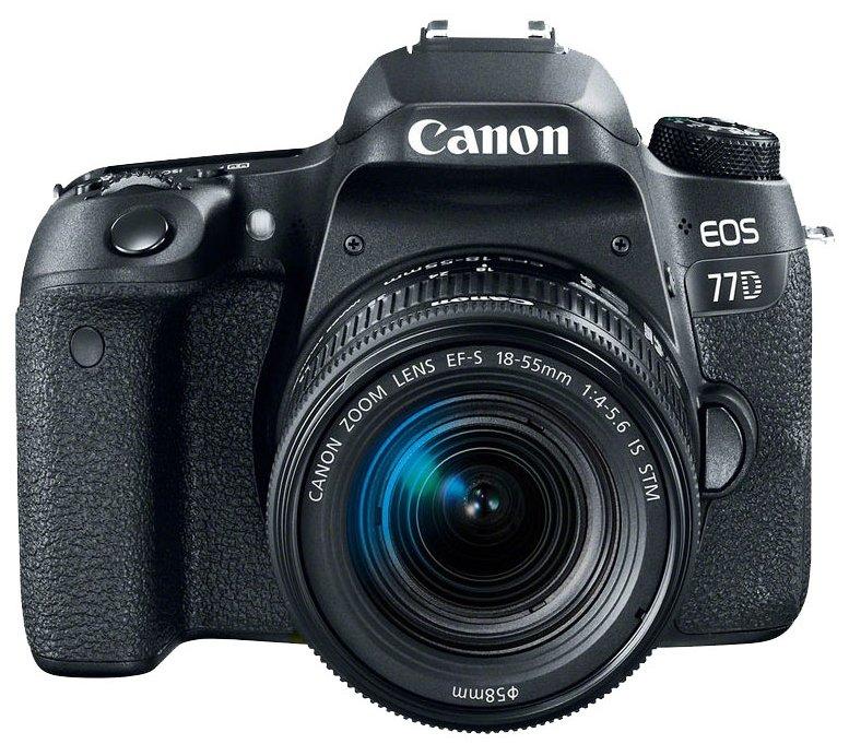 Obraz przedstawiający Aparat CANON Eos 77D Czarny + Obiektyw 18-55 IS STM