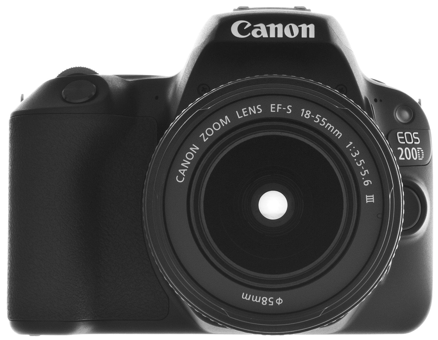 Obraz przedstawiający Aparat CANON EOS 200D Czarny + Obiektyw 18-55mm + Torba CANON 100EG + Karta 16GB